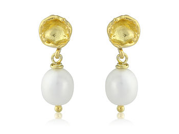 Seed Pod And Pearl Earrings In Gold Vermeil