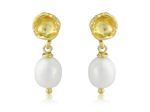 Seed Pod And Pearl Earrings In Gold Vermeil - women's jewellery