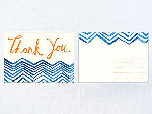 X 30 Fancy Chevron Thank You Cards
