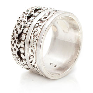 20% Off Handmade Chunky Silver Spinning Ring - rings