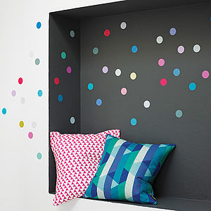 Multicoloured Polka Dot Wall Sticker Set - colour pop living room