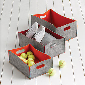 Set Of Three Felt Storage Boxes Or Bag - baskets