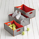 Set Of Three Felt Storage Boxes Or Bag
