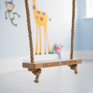 Personalised Oak Garden Tree Swing - naming day celebration gifts