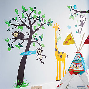 Monkey Tree Giraffe And Branch Wall Sticker - bedroom