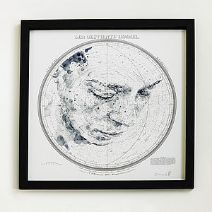 'The Starry Heavens' Map Print - monochrome