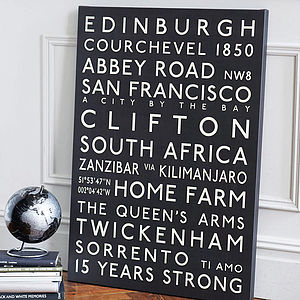 Personalised Bus Blind Canvas - dates & special occasions