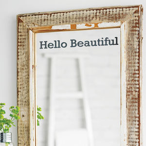 'Hello Beautiful' Mirror Sticker - office & study