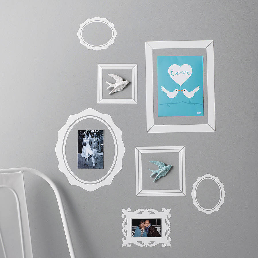 pack of seven picture frame wall stickers by nutmeg