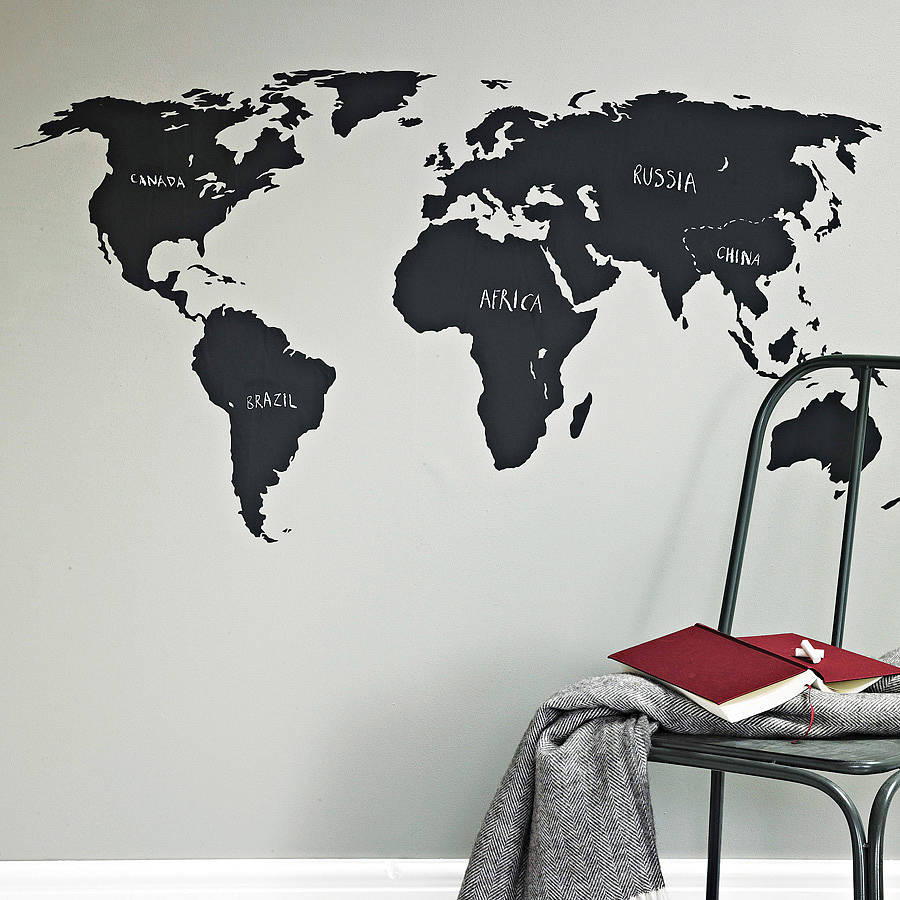 World map sticker for wall india - Chalkboard World Map Wall Sticker