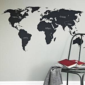 Chalkboard World Map Wall Sticker - bedroom