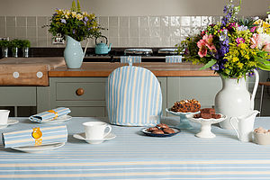 Malvern Lapis Ochre Stripe Tablecloth - tableware