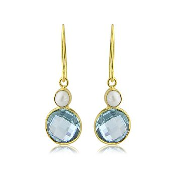 Fiesta Blue Topaz And Pearl Earrings