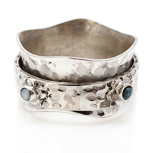 Turquoise Flower Silver Spinning Ring - rings