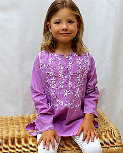 Girl's Lilac Embroidered Cotton Kaftan