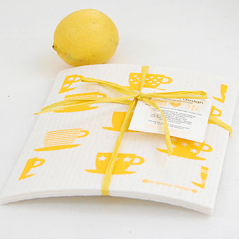 Set Of Yellow Dish Cloths