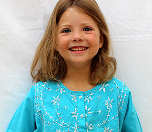 Girl's Turquoise Embroidered Cotton Kaftan