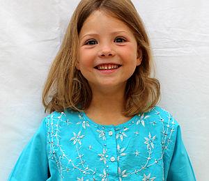 Girl's Turquoise Embroidered Cotton Kaftan