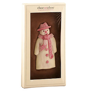 Pink Snowman Chocolate Bar - christmas parties & entertaining