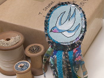 Swallow Embroidered Rosette Brooch