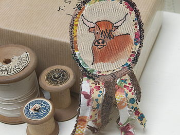 Highland Cow Embroidered Rosette Brooch