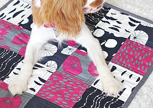 Handmade Quilted Apples Pet Blanket - beds & sleeping