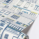 Coastal Cottages wallpaper close up on roll