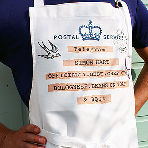 Personalised Vintage Style Telegram Apron - cooking & food preparation