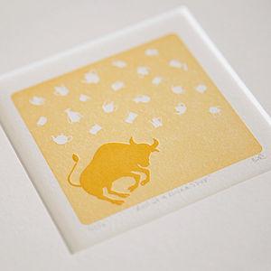 'Bull In A China Shop' Letterpress Print