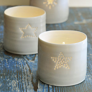 Porcelain Full Star Tealight - room decorations