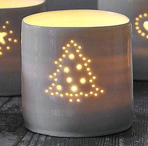 Porcelain Christmas Tree Tealight - home accessories