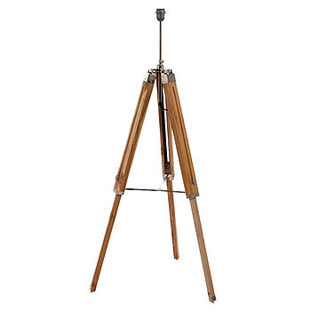 natural wood tripod floor lamp base by quirk. Black Bedroom Furniture Sets. Home Design Ideas