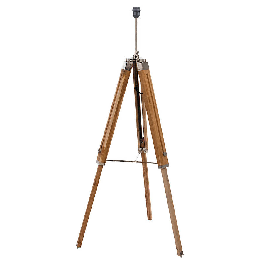 Natural wood tripod floor lamp base by quirk for Lamp wooden
