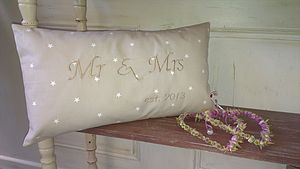 Handmade MR & MRS Wedding Cushion - cushions