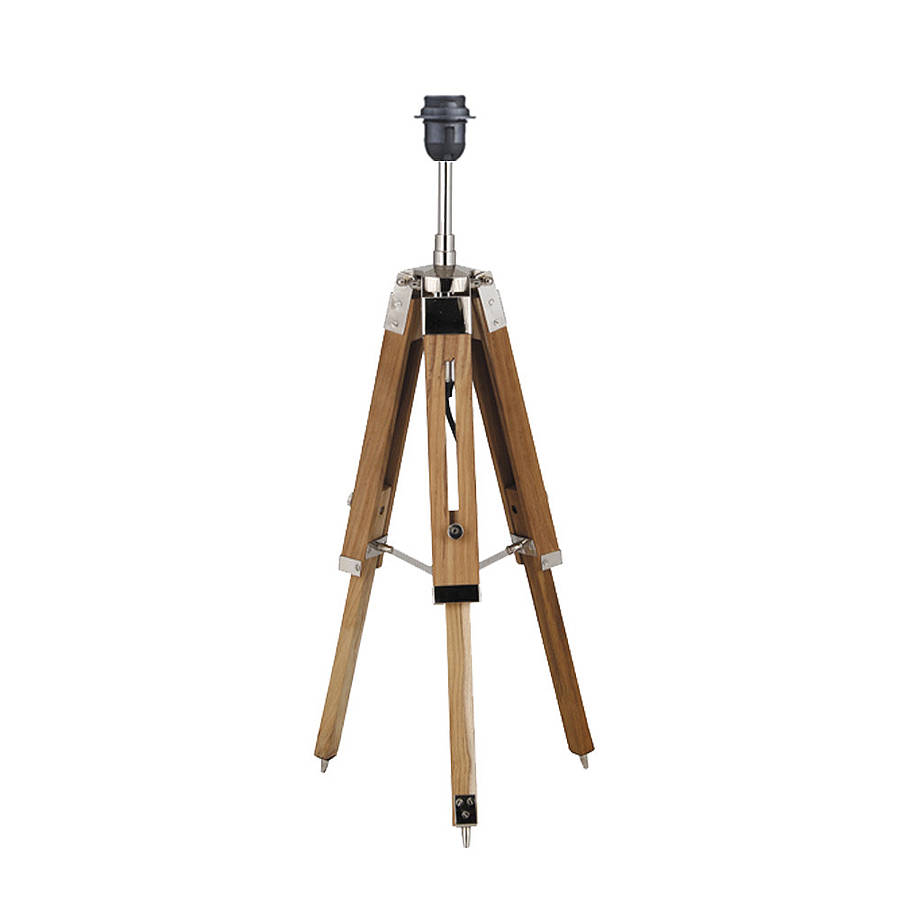 natural wood tripod table lamp base by quirk. Black Bedroom Furniture Sets. Home Design Ideas