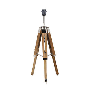 Natural Wood Tripod Table Lamp Base