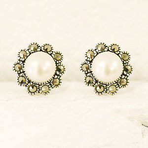 Penelope Silver Pearl And Marcasite Studs - earrings