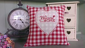 Handmade 'Welcome To Our Home' Cushion
