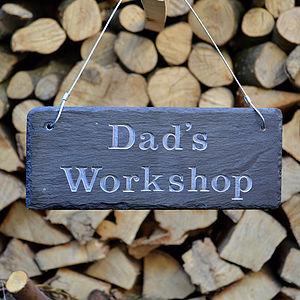 Engraved Slate Dad's Garden Sign - art & decorations