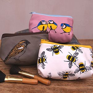 Birds And Bees Soft Leather Make Up Bag - make-up & wash bags