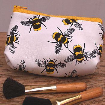 Birds And Bees Soft Leather Make Up Bag