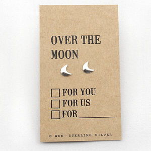 'Over The Moon' Silver Earrings