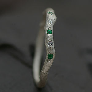 Eternity Ring Set With Emerald And Diamond - women's jewellery