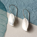 Brushed Silver Leaf Drop Earrings