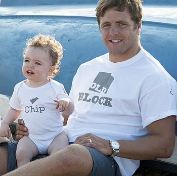 'Old Block' And 'Chip' T Shirt And Baby Grow