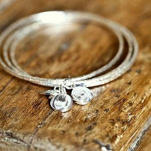 Personalised Silver Photo Charm Bangles - gifts for mothers