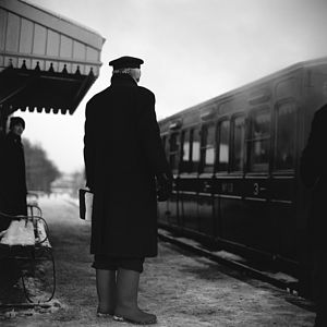 Railway Guard, Black And White Signed Print