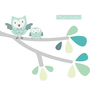 Twit Twoo Fabric Branch Wall Stickers