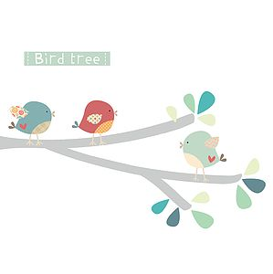Bird Branch Fabric Wall Stickers