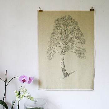 Vintage School Print 'Silver Birch' Two Sided